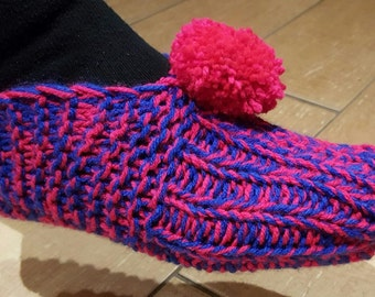 Ladies slippers. Hand knitted slippers. Different colours available.
