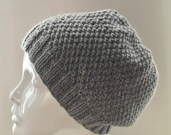 hand knit gray wool slouchy beanie, hand knit wool hat, wool slouchy hat, hand knit gift, ready to ship.