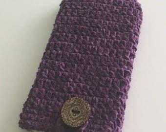 Crocheted purple phone pouch, I phone 6plus sleeve, crocheted  glasses pouch, purple iPhone 6plus sleeve.