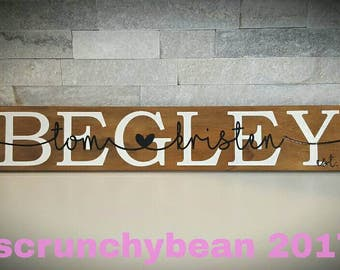 Family name sign, last name sign, family home decor, family name wood sign, personalized family name, wedding sign, wedding decor, new home