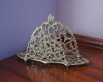 Ornate Brass Letter Holder /  Brass Napkin Holder.