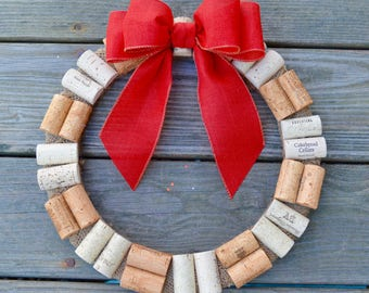 Wine Cork Wreath with Red Bow