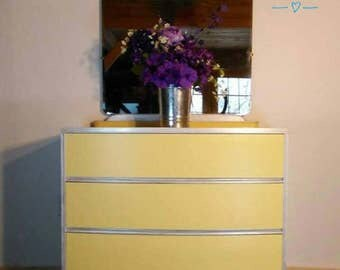 Vintage Waterfall Art Deco Dresser with Mirror