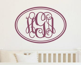 Vine Monogram Vinyl Wall Decal Monogram Vinyl Decal Bedroom Wall Decal Nursery Monogram Decals Home Decor Decal