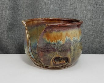 Made To Order** Pottery Yarn Bowl, Knitting Bowl - Pottery Yarn Bowl - Ceramic Yarn Bowl - Acorn