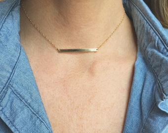 Thin Gold Bar Necklace Horizontal Gold Bar Necklace Shiny Bar Necklace Everyday  Gold Necklace