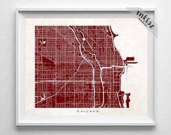 chicago map illinois print illinois poster chicago map art halloween decor