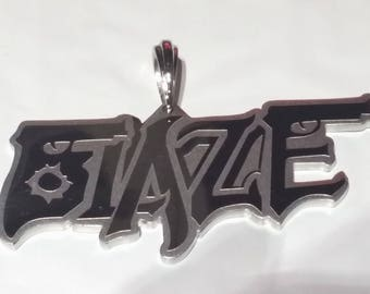 ICP-BLAZE gun logo Polished Stainless Steel  etched design pendant with a 30 inch ball chain