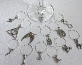 Potterhead Wine glass charms Set of 6 your choice from 17 HP charms wine glass Deathly Hallows Harry Hogwarts Snitch Always Snape Slytherin