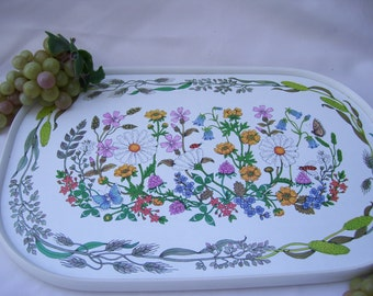 Melamine Botanical Garden Tray with many Flower Varieties,Designed by St. Michael Made in the UK,Marks and Spencer Ltd