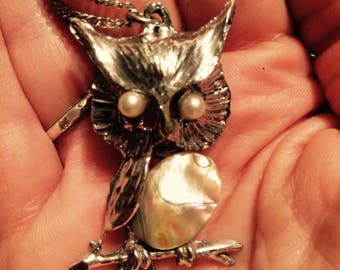 Vintage 1970s Owl Abalone Necklace