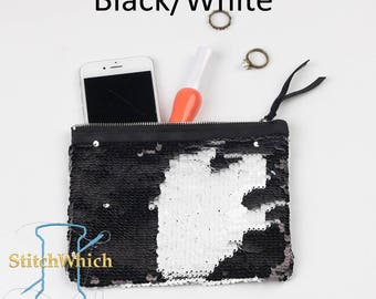 Black & White Reversible Sequin Clutch