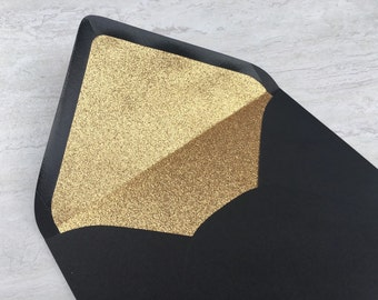 A7 Black Gold Glitter Lined Envelope - 5x7 Wedding Invitation Envelopes - Great Gatsby