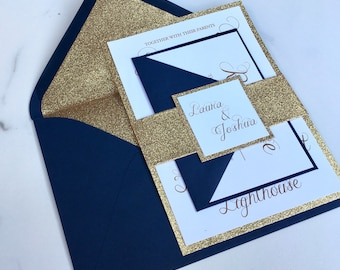 Gold Glitter Wedding Invitation - Navy & Gold Glitter Wedding Invites - Wedding Invitation Suite - Sample Set