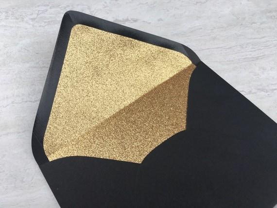 A7 black gold glitter lined envelope 5x7 wedding invitation like this item stopboris Images