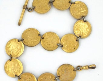 c.1918 - Antique Gold Filled Watch Fob Chain Made of USA Nickels / 5 Cents Coins
