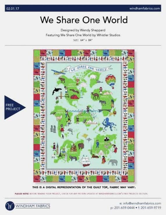 Large world map fabric panel we share one world windham fabrics 3500 gumiabroncs Gallery