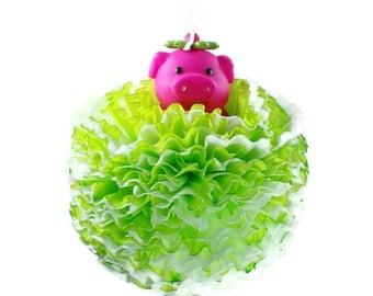 Green Piggie Paper Puffer
