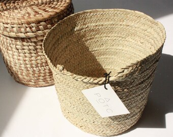 """Hand Braided Small African Straw Basket. Perfect Storage. 8.5""""x 8"""" Ethically Made in West Africa. Free tracked ship"""