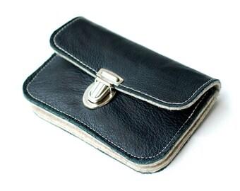 Wallet leather & felt, black