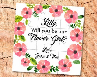 Will You Be my Flower girl gift Puzzle proposal Flower girl Will You Be our Flower girl puzzle Ask Flower Girl jigsaw be  Flower girl card