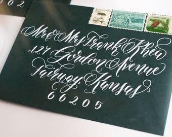 "Handwritten Calligraphy Envelope Addressing - ""Buena Vista"" Flourish Style"