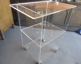 Rolling Lucite Shelf Cart