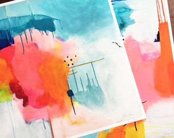 Set of two abstract acrylic paintings, large wall art, modern artwork, contemporary art, colorful wall art, archival fine art by Paula Prass