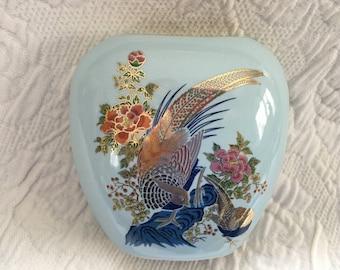 Oval Porcelain Vase, Japanese Porcelain Vase, Floral, Pheasants, Pale Blue, 4 x 4 Oval Vase, Floral Pheasant Design, Asian Vase, Gold  Trim