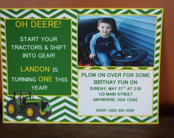 John Deere Themed Party *** CUSTOMIZABLE *** Invitations - Sold in Lots of 8 (Green Tractor / Green and Yellow)
