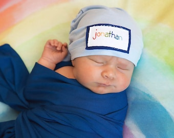 baby hat, newborn beanie, Rainbow baby hat, sleepy hat, rainbow name hat, twin hats, rainbow baby gift, rainbow baby, rainbow preemie hat