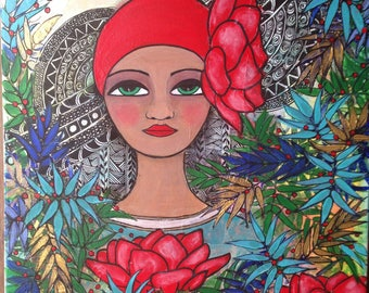 Red Lotus II. Mixed media folk art portrait.