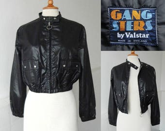 Black 60s Vintage Jacket // Gangsters By Valstar // Nylon // Made In England