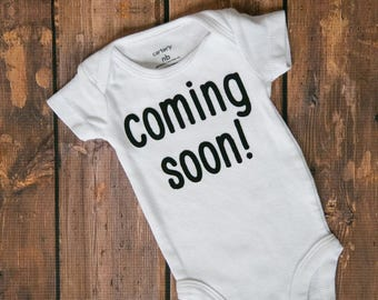"Coming Soon! Baby Anouncement Bodysuit! Coming home outfits! ""Coming Soon"" birth anouncement. Baby announcement"