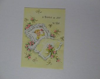 Vintage Greeting Card - Congratulations Baby Arrival - Bundle of Joy or Birth Congratulations Card - New Old Stock - Never Used