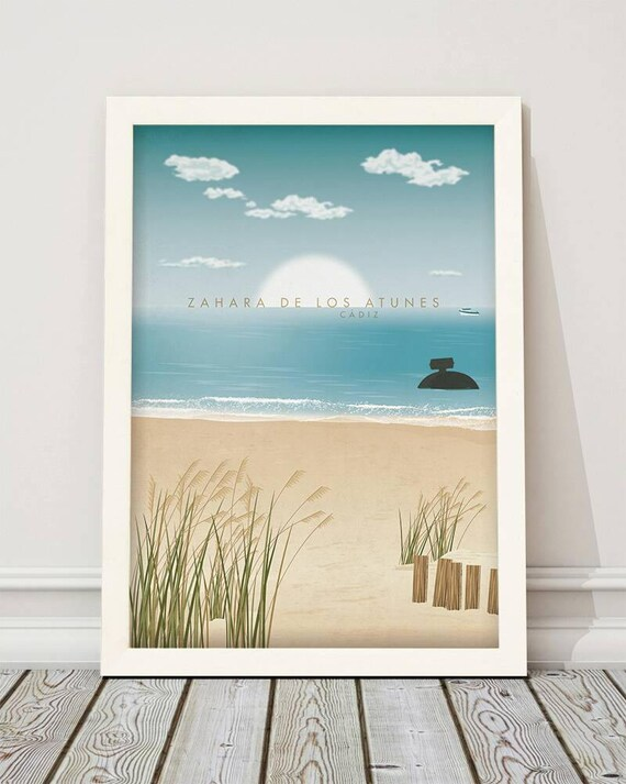 Zahara de los Atunes. Cádiz. Wall art decor.  Printable art. Digital print.  Instant digital download. Illustration.