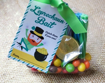 Leprechaun Bait tags - Printable - treat bag tags, gift tags, St. Patricks Day treat, Kids St. Patricks, St. Patricks classroom treat