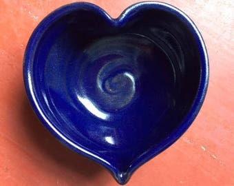 Medium Heart Bowl in Cobalt Blue