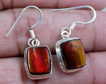 Ammolite Earring, Red Fire Ammolite Earring, Dangle Earring, 925 Sterling Silver Earring, Solid Silver Earring, Wedding Earring, Ammolite