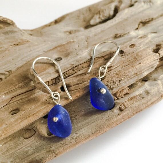 genuine santa cruz sea glass cobalt blue earrings with hammered sterling ear wires