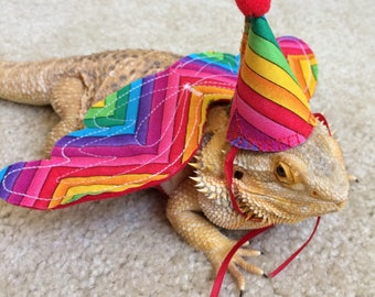 Matching Wings and Hats for Bearded Dragons! Multiple colors, one size fits most.