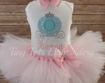 Cinderella Birthday Outfit ~ Cinderella Tutu Outfit ~ Includes Top, Tutu & Hair Bow ~ Customize in Any Colors of Your Choice!