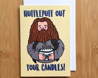 Harry Potter Birthday Card - A2 Handmade Hufflepuff Out Your Candles Hagrid Cake Card