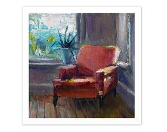 fine art print, chair painting, fine art print, interior painting, print from original acrylic painting, small print, 7x7 print