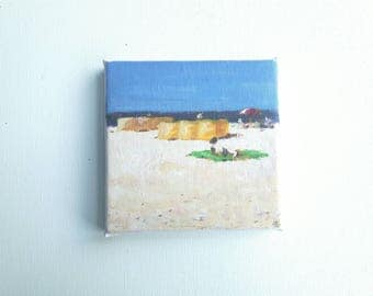 original acrylic painting, beach painting, sea painting, summer painting, small 4X4 painting, acrylics on canvas, small art