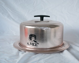 1950's - 60's Westbdend Pink Aluminum Cake Carrier * Vintage Cake Dome * Mid Century Cake Taker * Holiday Cake Carrier * Pink Aluminum *