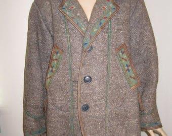 Vintage Romanian costume COAT from Transylvania , old handmade wool traditional Romanian coat , ethnic European vintage handwoven coat M/L