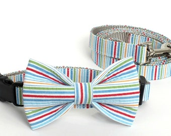 SALE Multi Color Seersucker Collar and Leash Set, Wedding Set, pet bow tie, collar bow tie, wedding bow tie