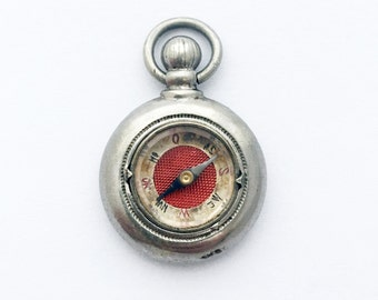 Rare Antique German Compass Fob in Pocket Watch Shape