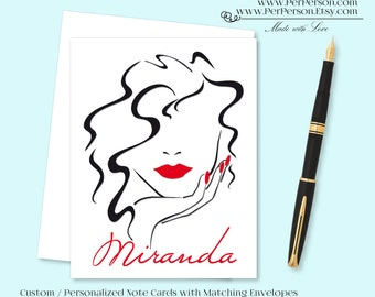 Free Ship!  Set of 12 Personalized / Custom Notecards, Boxed, Blank Inside, Woman, Face, Female, Lipstick, Red, Monogram, Name, Initials